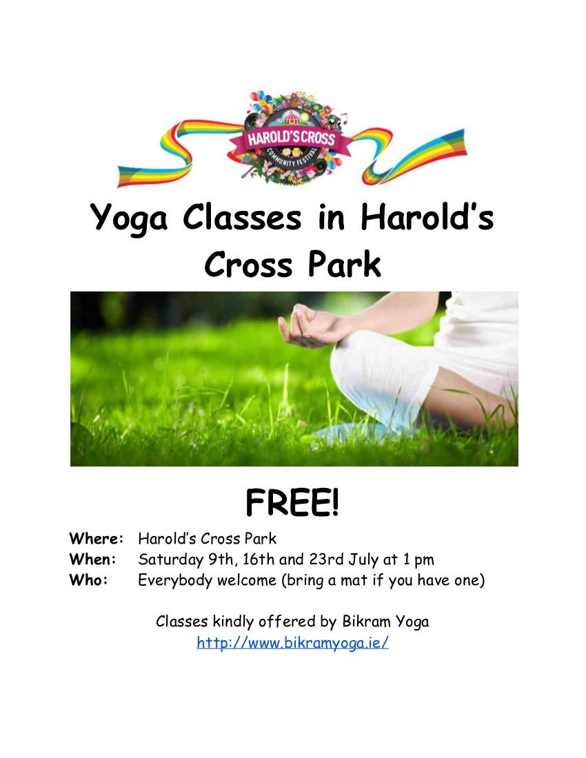 Harolds Cross yoga in the park