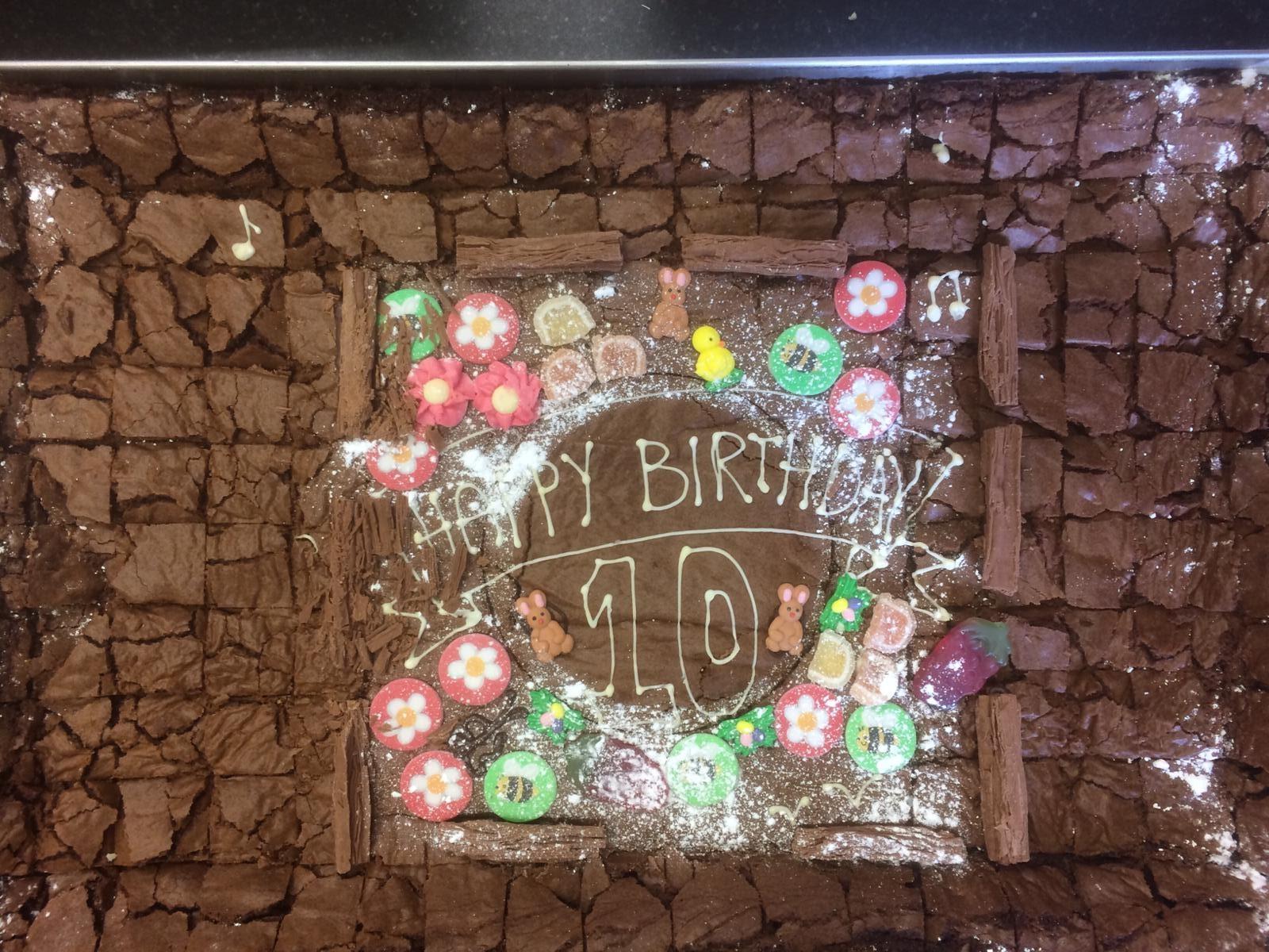 HX 10 year birthday cake from Corner Bakery